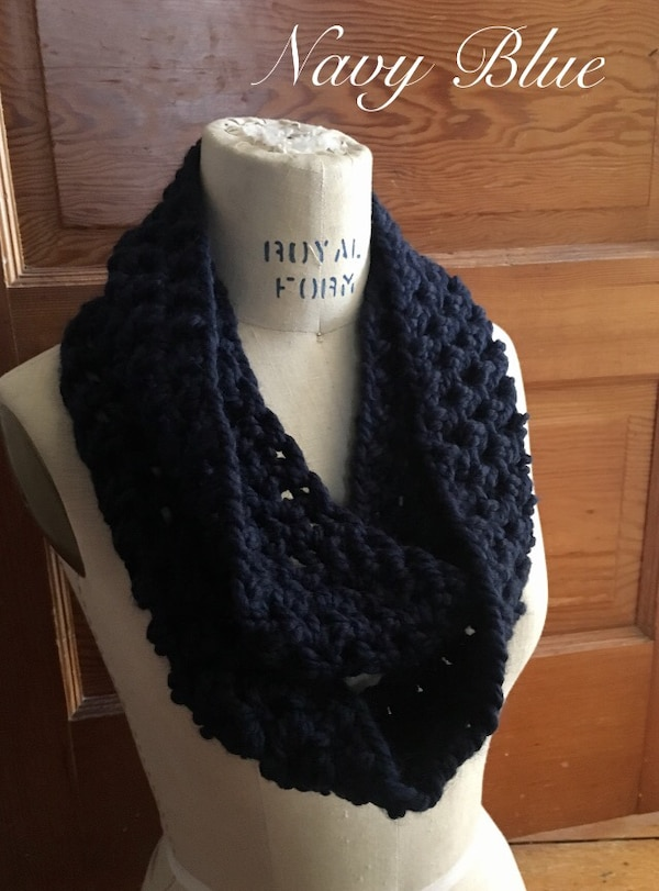 Used Navy Blue Crochet Scarf For Sale In Clifton Letgo