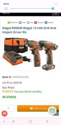 Rigid 12v impact and drill plus charger combo $50