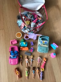 Polly pocket dolls, cars and clothing