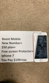 Iphone 7 Boost Mobile with new number free  $50 unlimited plan + Gift