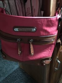Pink and brown  leather crossbody bag SANJOSE