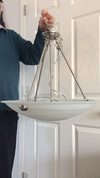 white hanging ceiling light