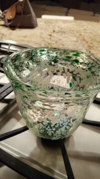 white and green glass candle holder Middleton, 53562