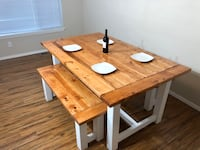 Solid wood Farmhouse Table and Benches
