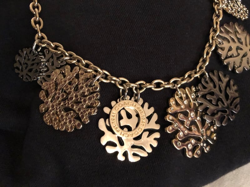 Coach coral bib necklace 1