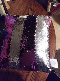 purple and gray sequin throw pillow