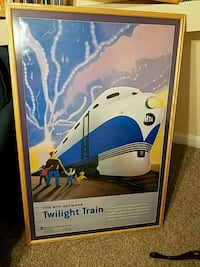 framed train picture 50x34 inches 23 mi