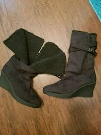 pair of black suede chunky heeled boots Woodstock