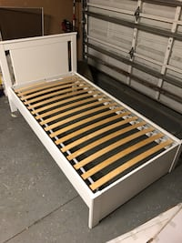 white and brown wooden slatted bed frame Riverview, 33579
