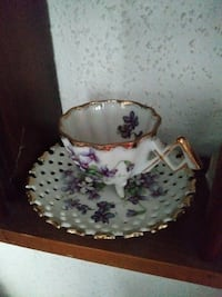 white, purple and green floral cup and saucer Detroit, 48208