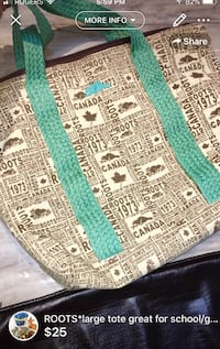 ROOTS*large tote great for school/gym/diaper bag gently used London, N5W 6E3