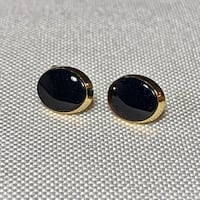 Vintage 14k Gold Black Onyx Stud Earrings Ashburn