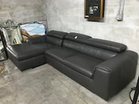 black leather sectional sofa with ottoman Hialeah