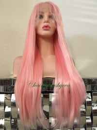26 inch long premium quality synthetic high temperature fiber heat resistant low medium heat straight pink wig Swiss lace brand new everything  Las Vegas, 89144
