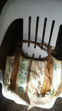 brown and white floral leather tote bag Elkview, 25071