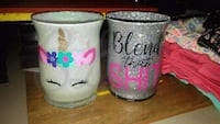 two gray and pink ceramic mugs Prairieville, 70769