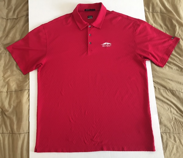 Nike Fit Dry Tiger Woods Legacy Golf Resort Red White Polo Rugby Shirt Mens Sz Xl