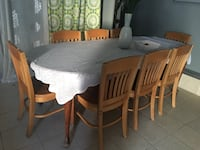 rectangular brown wooden table with six chairs dining set Los Angeles, 91331