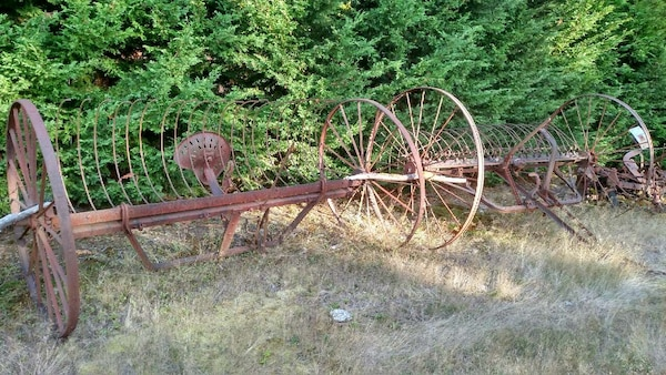 Antique Hay Rake Parts : Used antique hay rake with tractor seat horse drawn for