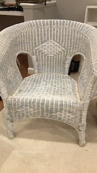 white wicker armchair with ottoman Ashburn, 20147