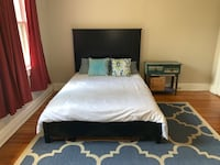 Bed, nightstand, dresser, and rug