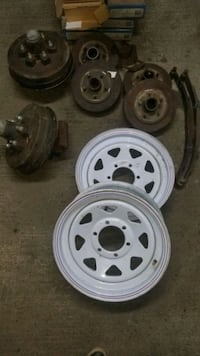 Trailer hubs and rims and 2 springs and 4 hubs Central Okanagan