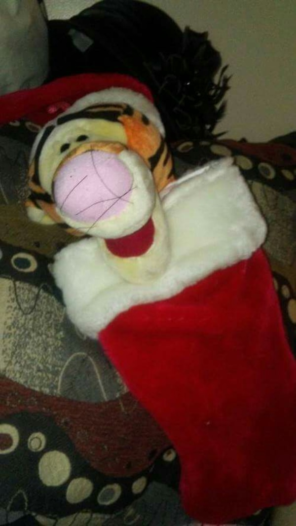 Tigger Christmas Stocking.Used Tigger Plush Toy And Red Christmas Stockings For Sale