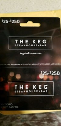 $50 keg gift card selling for $40 Vancouver, V6B 1M7