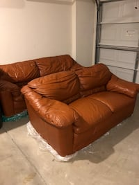 Brown Leather Love seat and Couch pair  Kannapolis