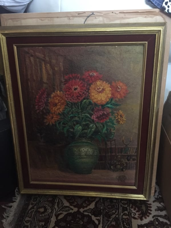 Vintage floral signed painting 1