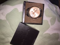 round silver chronograph watch with black leather strap in box McLean, 22102