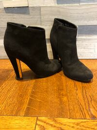 Suede ankle boots with gold trim on heel Toronto, M9C 3E3