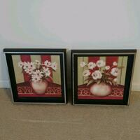 two white daisies and roses in brown vase painting and black frames Greensboro, 27406
