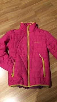 rosa og gul Columbia zip-up jakke