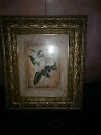 white Magnolia flower painting and brown ornate frame Brampton, L6X 0C7
