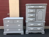 Set of 2 Solid Wood Dressers Gray With White Handles  Woodbridge, 22192