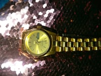 round gold-colored analog watch with link bracelet Los Angeles, 90026