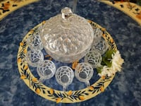 Antique lead crystal punch bowl with cups and lade Mesa, 85207