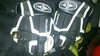 pair of black-and-white Easton safety gears