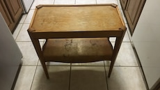 brown wooden rectangular console side table