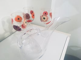 Caraf and hand painted glasses