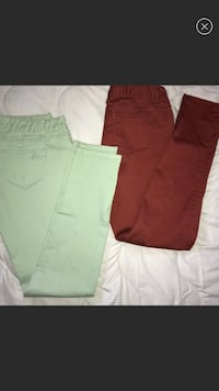 Reddish (Autmn color) and pastel green jeans San Diego, 92114