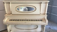 white upright piano Waldorf, 20601