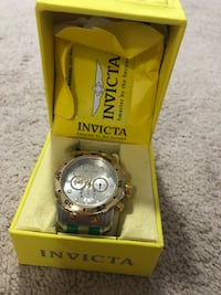 round silver Invicta chronograph watch with link bracelet Airdrie, T4B 3R9