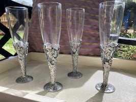 Pewter Champagne flutes