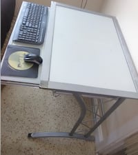 USED Frosted Glass / Metal Computer Desk w/ Slide out Tray Fort Lauderdale