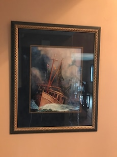 brown and black sailing boat framed painting