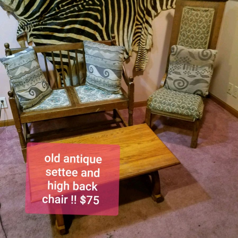 antique settee with chair and coffee table