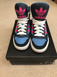 Blue-and-black adidas high-top sneakers ???, V1X 1X9