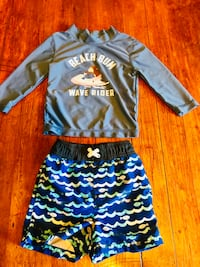 Boys swim trunks and rash guard in great condition Cambridge, N3H 3Y2